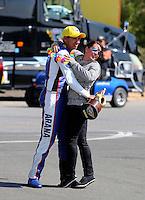 Jul. 28, 2013; Sonoma, CA, USA: NHRA pro stock motorcycle rider Hector Arana Jr celebrates with girlfriend Nicole Nobile after winning the Sonoma Nationals at Sonoma Raceway. Mandatory Credit: Mark J. Rebilas-