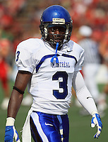 Universite de Montreal Carabins' Jerry-Ralph Jules in CIS football action against the Rouge et Or at the universite Laval stadium in Quebec City, September 7, 2008. Laval won 17-6 before a crowd of 15,275.