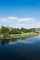 Nidaros cathedral and Nidelva river, Trondheim, Norway
