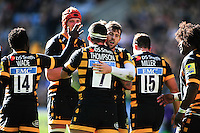 Guy Thompson of Wasps celebrates his try with team-mates. Aviva Premiership match, between Wasps and Harlequins on October 2, 2016 at the Ricoh Arena in Coventry, England. Photo by: Patrick Khachfe / JMP