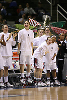 5 March 2007: Jayne Appel, Michelle Harrison, Clare Bodensteiner, Markisha Coleman, Morgan Clyburn, Christy Titchenal and Rosalyn Gold-Onwude during Stanford's 62-55 win over ASU in the finals of the women's Pac-10 tournament championship at HP Pavilion in San Jose, CA.
