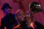 Troy &quot;Trombone Shorty&quot; Andrews performs with an all-star cast at a White House event titled In Performance at the White House: Red, White and Blues, February 21, 2012 in Washington, DC.  As part of the In Perfomance series, music legends and contemporary major artists have been invited to perform at  the White House for a celebration of Blues music and in recognition of Black History Month. The program featured performances by B.B. King, Jeff Beck, Gary Clark, Jr., Shemekia Copeland, Buddy Guy, Warren Haynes, Mick Jagger, Keb Mo, Susan Tedeschi and Derek Trucks, with Taraji P. Henson as the program host and Booker T. Jones as music director and band leader.  .Credit: Win McNamee / Pool via CNP
