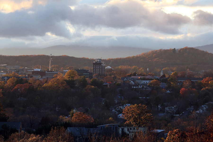 The Charlottesville City skyline view from Pantops. Photo/Andrew Shurtleff