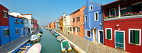 Streets and canals of Burano island - Venice - Italy