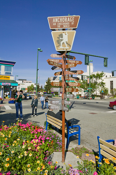 Mileage sign in front of the Anchorage Convention and Visitor's Bureau, downtown Anchorage