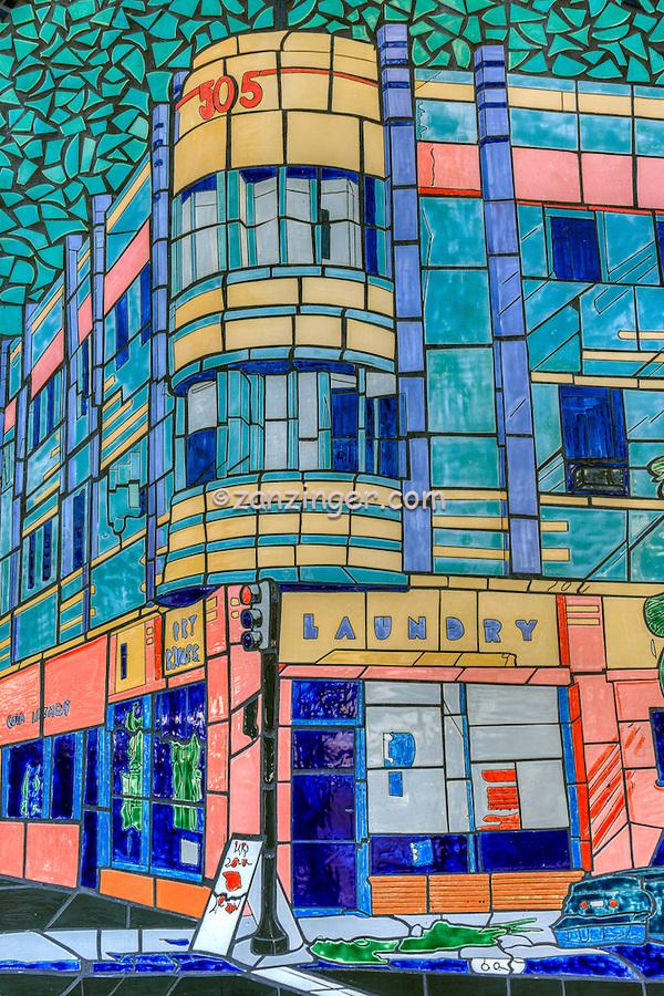 Mosaic Laundry Mural, downtown Long Beach, CA