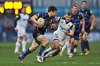 Tom Heathcote of Worcester Warriors goes on the attack. Aviva Premiership match, between Worcester Warriors and Bath Rugby on February 13, 2016 at Sixways Stadium in Worcester, England. Photo by: Patrick Khachfe / Onside Images