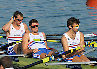 Brest, Belarus.  GBR M8+,left to right,  Scott DURANT, Antony LOCKE, Michael EVANS relax before the start.  2010. FISA U23 Championships. Friday,  23/07/2010.  [Mandatory Credit Peter Spurrier/ Intersport Images]