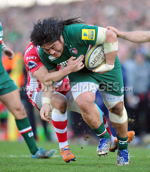 Logovi'i Mulipola goes on the charge. Aviva Premiership match, between Leicester Tigers and Gloucester Rugby on February 16, 2014 at Welford Road in Leicester, England. Photo by: Patrick Khachfe / JMP