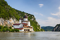 Mraconia Monastery on the bank of the Danube River, Romania.
