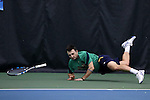 27 January 2017: Notre Dame's Eddy Covalschi gets his feet tangled up sending him sprawling. The University of North Carolina Tar Heels hosted the University of Notre Dame Fighting Irish at the Cone-enfield Tennis Center in Chapel Hill, North Carolina in the first round of the Intercollegiate Tennis Association Men's Indoor Team Championship. North Carolina won the match 4-0.