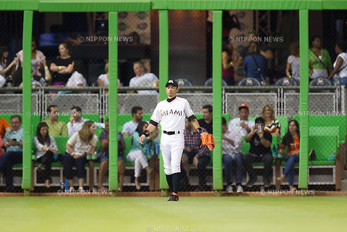 Ichiro Suzuki (Marlins),<br /> APRIL 24, 2015 - MLB : Outfielder Ichiro Suzuki of the Miami Marlins is senn during the Major League Baseball game against the Washington Nationals at Marlins Park in Miami, Florida, United States.<br /> (Photo by Thomas Anderson/AFLO) (JAPANESE NEWSPAPER OUT)