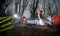 U23 World Champion Wout Van Aert (BEL/Vastgoedservice-Golden Palace) leading Dutch Champion Lars Van der Haar (NLD/Giant-Shimano)<br /> <br /> Flandriencross Hamme 2014