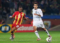 Jonathan Bornstein of USA and Andre Ayew of Ghana. Ghana defeated the USA 2-1 in overtime in the 2010 FIFA World Cup at Royal Bafokeng Stadium in Rustenburg, South Africa on June 26, 2010.