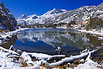 Fresh snow on Mount Abbot from Long Lake, John Muir Wilderness, Sierra Nevada Mountains, California USA