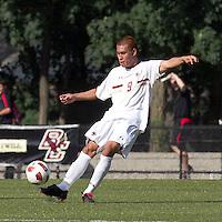 Boston College midfielder/defender Patrick Chin (9) passes the ball. Boston College defeated George Mason University, 3-2, at Newton Soccer Field, August 26, 2011.