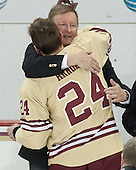 Bill Arnold (BC - 24), Dave Arnold - The visiting University of Notre Dame Fighting Irish defeated the Boston College Eagles 2-1 in overtime on Saturday, March 1, 2014, at Kelley Rink in Conte Forum in Chestnut Hill, Massachusetts.