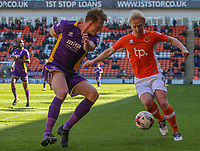 Blackpool's Mark Cullen vies for possession with Cheltenham Town's Will Boyle<br /> <br /> Photographer Alex Dodd/CameraSport<br /> <br /> The EFL Sky Bet League Two - Blackpool v Cheltenham Town - Saturday 22nd April 2017 - Bloomfield Road - Blackpool<br /> <br /> World Copyright &copy; 2017 CameraSport. All rights reserved. 43 Linden Ave. Countesthorpe. Leicester. England. LE8 5PG - Tel: +44 (0) 116 277 4147 - admin@camerasport.com - www.camerasport.com