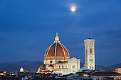 Moonrise over Florence Cathedral, Basilica di Santa Maria del Fiore at dusk, Florence, Italy.