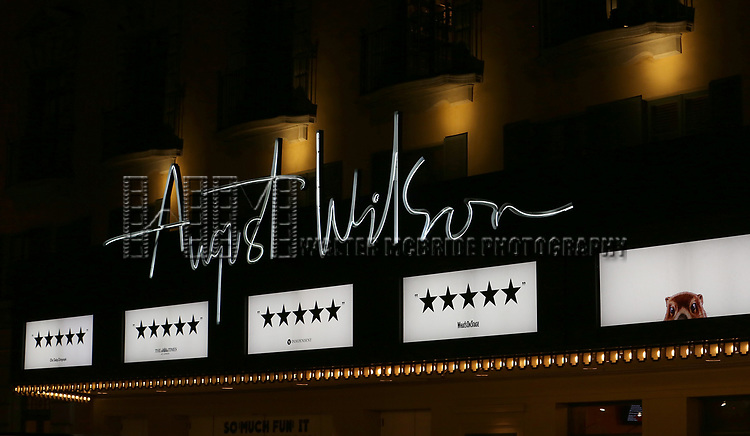 Theatre Marquee for the Broadway Opening Night Curtain Call Bows for 'Groundhog Day' at August Wilson Theatre on April 17, 2017 in New York City.