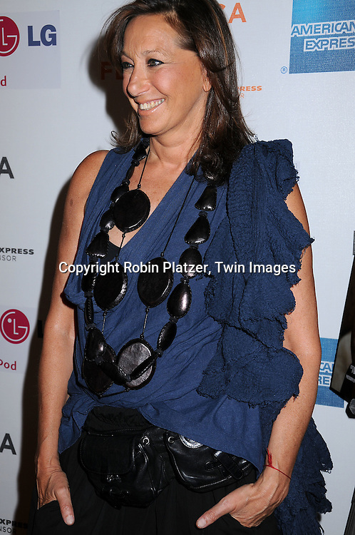 """Donna Karan in jewelry from Nabibia..posing for photographers at The 2008 Tribeca Film Festival's screening of """" """"I Am Because We Are"""", which is ..executive produced by Madonna, on April 24, 2008 at BMCC/TPAC. ..Robin Platzer, Twin Images"""