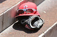09/13/12 Anaheim, CA: Los Angeles Angels cap and glove before an MLB game played between the oakland Athletics and Los Angeles Angels at Angel Stadium. The Angels defeated the A's 6-0.