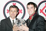 06 January 2006,  Senior forward Jason Garey of the University of Maryland is the winner of the 2005 Hermann Trophy, standing with Coach Sasho Cirovski during the Missouri Athletic Club presentation of the 2005 Hermann Trophy in St. Louis, Missouri..---LIVE IMAGE---