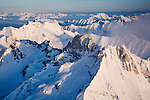 Aerial view over North Cascades National Park, northwest of Stehekin, WA.January 16.