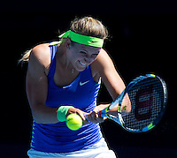 VICTORIA AZARENKA (BLR) against HEATHER WATSON (GBR) in the first round of the Women's Singles. Victoria Azarenka beat heather Watson 6-1 6-0...16/01/2012, 16th January 2012, 16.01.2012..The Australian Open, Melbourne Park, Melbourne,Victoria, Australia.@AMN IMAGES, Frey, Advantage Media Network, 30, Cleveland Street, London, W1T 4JD .Tel - +44 208 947 0100..email - mfrey@advantagemedianet.com..www.amnimages.photoshelter.com.