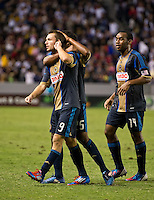 CARSON, CA - July 4, 2012: Philadelphia Union forward Jack McInerney (9) celebrates his goal with teammates during the LA Galaxy vs Philadelphia Union match at the Home Depot Center in Carson, California. Final score LA Galaxy 1, Philadelphia Union 2.