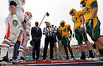 07 JAN 2012: NFL legend Jerry Rice joins Sam Houston State University and North Dakota State University for the coin toss prior to the Division I Men's FCS Football Championship held at Pizza Hut Park in Frisco, TX. North Dakota State beat Sam Houston State 17-6 for the national title. Tom Pennington/ NCAA Photos