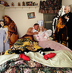 "Dean Calloway, the owner of the ""Magical Land of OZ"" bed and breakfast in Livingtson Manor, NY, poses for an environmental portrait with life size Wizard of Oz cut outs Oct. 09, 2005 in one of the Oz guest rooms. OZ can be a lonely place at times with few visitors. ."
