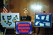 First lady Hillary Rodham Clinton speaks in favor of an increase in the minimum-wage at a Capitol Hill press conference on 28 September, 1999 in Washington, DC.  The press conference was called to discuss a new study by the Economic Policy Institute on the impact a minimum-wage increase would have on working women.<br /> Credit: Ron Sachs / CNP