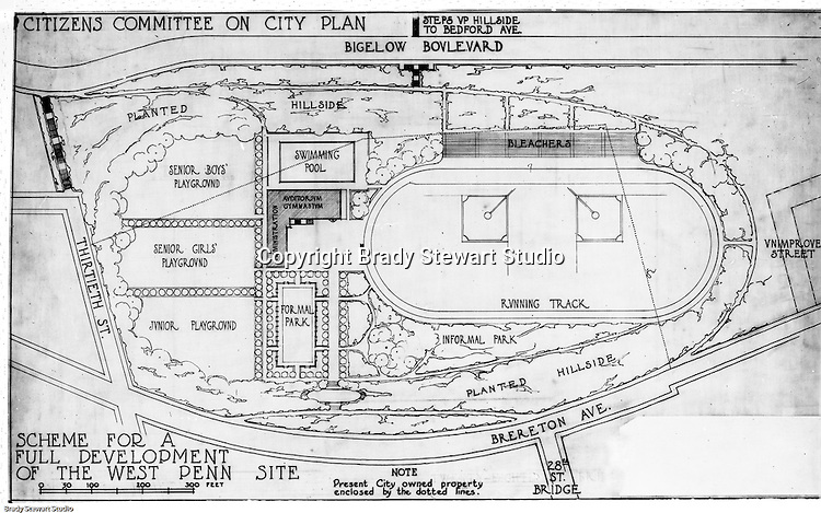 Pittsburgh PA: View of an old lantern slide created by Brady Stewart for the Pittsburgh Citizens Committee on City Plan (CCCP) when they were crafting the City Plan.  <br /> Image includes an illustration of the proposed development of the West Penn site for the Parks and Recreation plan.<br /> The Citizen's Committee was organized to produce the Pittsburgh Plan for infrastructure including: playgrounds, major streets, Parks, Public Transit, Railroads and Waterways. Some of the cities most accomplished and influential citizens volunteered to serve on the various committees from 1920 thru 1924. Prominent citizens included: Richard and Andrew Mellon, Charles Armstrong, Henry Buhl Jr., Edgar, Issac &amp; Oliver Kaufmann, Roy A. Hunt, George Davison along with many leading Pittsburgh companies. They all paid an annual subscription (dues) to fund the activities of the Citizen's Committee. Brady Stewart provided photographic services for the committee.<br /> The negative and print were ordered by the Pittsburgh Regional Planning Association for a meeting in 1968.
