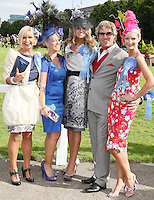 5/8/2010.Blossom Hill Ladies Day. Winner of the best dressed Lady Yvonne Ellard from Tipperary (CENTER) is pictured with runners up L-R (Highly recomended) Sharon Mc Grattan, (best dressed man) Paul Morrissy,( most colourful outfit) Laoise Hughes and (Best Hat) Michelle Foley at the Blossom Hill Ladies Day at the Fáilte Ireland Dublin Horse Show at RDS. Picture James Horan/Collins Photos