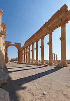 Monumental Arch & Great Colonnade, Palmyra, Syria. Ancient city in the desert that fell into disuse after the 16th century.