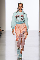 Model walks runway in an outfit by Sara Teator, for the 2017 Pratt fashion show on May 4, 2017 at Spring Studios in New York City.
