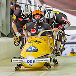 9 January 2016: Germany pilot Maximilian Arndt leads his 4-man team as they push off their first start of the day at the BMW IBSF World Cup Bobsled Championships at the Olympic Sports Track in Lake Placid, New York, USA. Arndt's team won the gold with a 2-run combined time of 1:49.70. Mandatory Credit: Ed Wolfstein Photo *** RAW (NEF) Image File Available ***