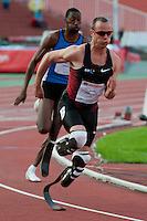 Paralympic competitior Oscar Pistorius from South-Africa competes in 400m men's running during Istvan Gyulai Memorial Hungarian Athletics Grand Prix 2011, in the Ferenc Puskas Stadium in Budapest, Hungary on July 30, 2011. ATTILA VOLGYI