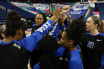 04 March 2016: Duke players huddle before the game. The Duke University Blue Devils played the University of University of Notre Dame Fighting Irish at the Greensboro Coliseum in Greensboro, North Carolina in an Atlantic Coast Conference Women's Basketball Tournament Quarterfinal and a 2015-16 NCAA Division I Women's Basketball game. Notre Dame won the game 83-54.