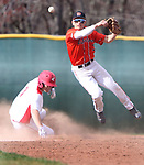 WOLCOTT CT. 17 April 2017-041517SV05-#3 Cameron DeFeo of Watertown High completes the double play as #7 Steven Urbanski of Wolcott was out at 2nd in the 3rd inning during NVL baseball action in Wolcott Monday. <br /> Steven Valenti Republican-American