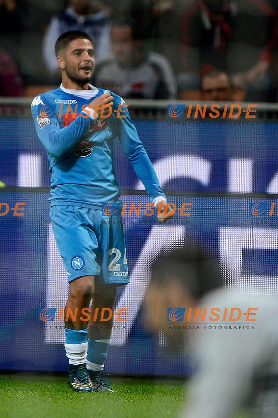 Esultanza gol di Lorenzo Insigne Napoli 0-3. Celebration goal<br /> Milano 4-10-2015 Stadio Giuseppe Meazza - Football Calcio Serie A Milan - Napoli. Foto Giuseppe Celeste / Insidefoto
