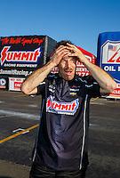 Feb 12, 2017; Pomona, CA, USA; NHRA pro stock driver Greg Anderson reacts during the Winternationals at Auto Club Raceway at Pomona. Mandatory Credit: Mark J. Rebilas-USA TODAY Sports