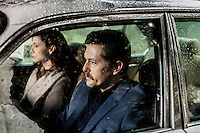 Actors, on a set, playing a couple travelling in a car during 'Oyle Bir Gecer Zaman Ki' (As Time Goes By), one of the most loved and most watched Turkish Soap Operas in the Middle East and North Africa.