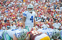 Dallas Cowboys quarterback Dak Prescott (4) looks over the defense during first quarter action against the Washington Redskins at FedEx Field in Landover, Maryland on Sunday, September 18, 2016.<br /> Credit: Ron Sachs / CNP /MediaPunch