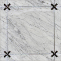 James, a stone water jet mosaic, shown in Nero Marquina and Carrara, is part of the Ann Sacks Beau Monde collection sold exclusively at www.annsacks.com