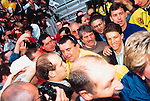 Juninho, is unveiled as Middlesbrough player, 1995. Manager Bryan Robson, assorted media and fans at The Riverside Stadium. (Exact date tbc). Photo by Tony Davis