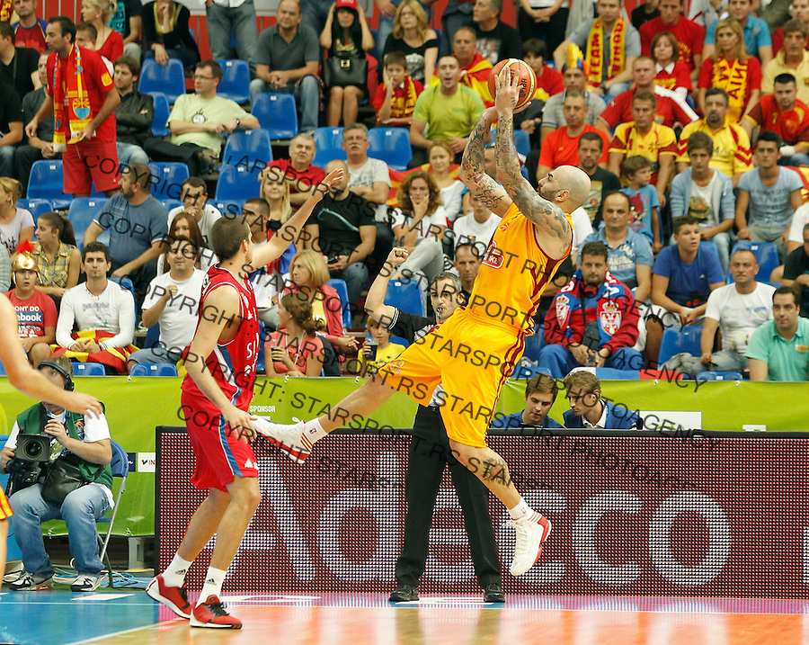 Pero Antic of Macedonia during European basketball championship Eurobasket 2013, group B, 1st round basketball game between Macedonia and Serbia in Podmezakla Arena in Jesenice, Slovenia, September 06. 2013. (credit: Pedja Milosavljevic  / thepedja@gmail.com / +381641260959)