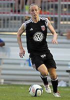 BOYDS, MARYLAND-JULY 07,2012:  US Olympian Becky Sauerbrunn (11) of DC United Women moves forward against the Dayton Dutch Lions during a W League game at Maryland Soccerplex, in Boyds, Maryland. DC United women won 4-1.