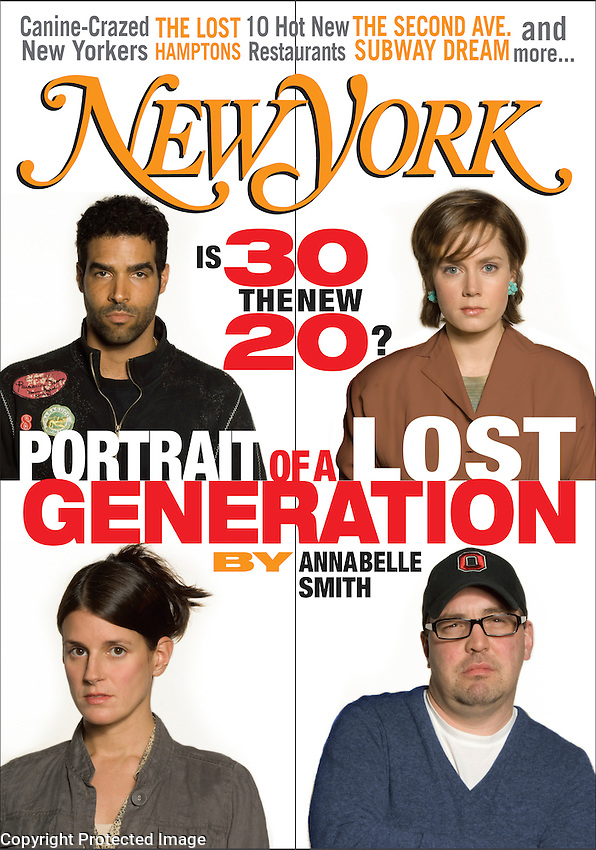 This is a fictional cover of a real magazine. We had a photo shoot of the four people (including Amy Adams), and my design had to be approved by production, the legal department and by New York Magazine.